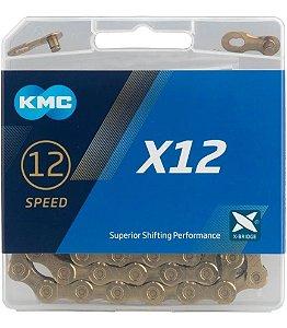 Corrente Kmc X12 Gold 126 Elos Ti-n Dourado Sram Shimano 12v