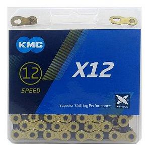 Corrente Kmc X12 Gold Black 126 Elos Dourado Sram Shimano