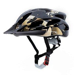 Capacete Tsw Raptor 2 Com LED Preto Dourado Ciclismo Tam M