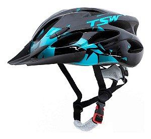 Capacete Ciclismo Tsw Raptor 2 Com Led Preto Azul Mtb Tam M