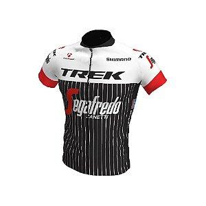 Camisa Ciclismo Bike Equipe Trek Preta Branca Ziper Tota