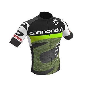 Camisa Ciclismo Bike Equipe Cannondale Preta Verde Ziper Total