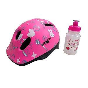 KIT Capacete Ciclismo BABY+SQUEEZE 250ML UNICORNIO Rosa Com Regulador