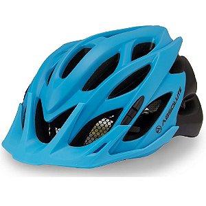 Capacete Ciclismo Absolute Wild Com Led Azul Preto Fosco