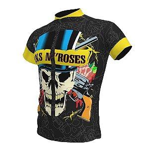 Camisa Ciclismo Bike Rock Guns N Roses Ziper Total Bolsos