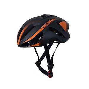 Capacete Bicicleta Ciclismo Tsw Team Plus  Preto / Laranja