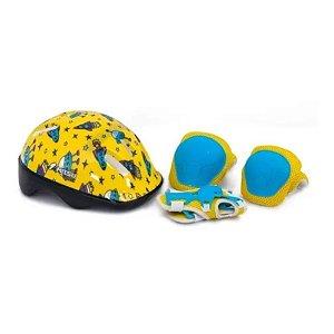 Capacete Infantil Foguete Mitsu + Acessórios Kit Proteção