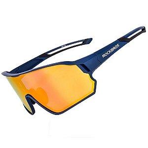 Óculos Bike Ciclismo Rockbros Azul Lente Polarizada Uv400