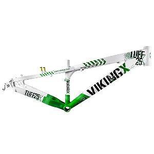 Quadro Aro 26 Vikingx Dirt Jump Tuff X-25 Branco/Verde