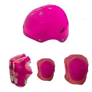 Kit Proteção Infantil Little Child Play Capacete Joelheira Cotoveleira Luva - Rosa