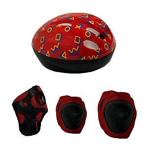 Kit Proteção Infantil Little Child Fan Capacete Joelheira Cotoveleira Luva - Vermelho
