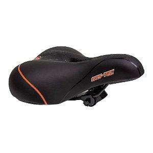 Selim 2 Molas Bike MTB Confortável GTS Tec - Preto e Laranja