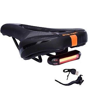 Selim Vazado Bike Mtb GTS-Tec Confortável c/ LED Sinalizador - Laranja