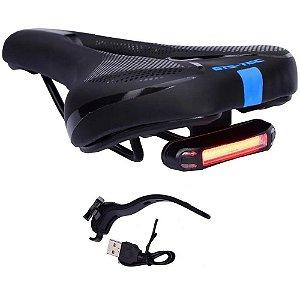 Selim Vazado Bike Mtb GTS-Tec Confortável c/ LED Sinalizador - Azul