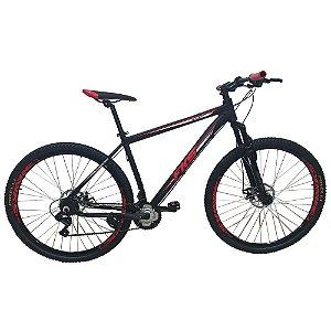 Bicicleta FKS Start Vermelha Aro 29 21V Shimano Tourney Freio Mecânico