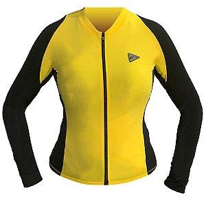Blusa Ciclismo Feminina Manga Longa Sol Training Amarela Tam P
