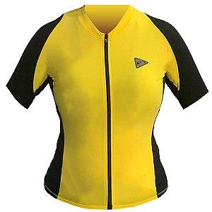 Blusa Ciclismo Feminina Manga Curta Sol Training Amarela Tam P