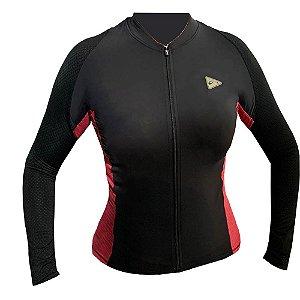 Camisa Ciclismo Feminina Manga Longa Sol Sports Training Preto Pink Tam P
