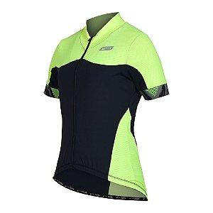 Camisa Ciclismo Feminina Sol Sports Aero Amarelo Florescente/ Preto Tam P
