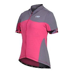 Camisa Ciclismo Feminina Manga Curta Sol Sports Aero Rosa com Cinza Tam P