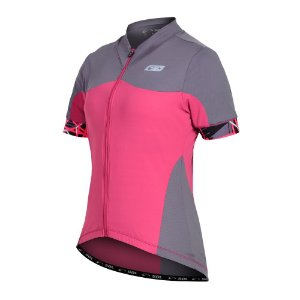 Camisa Ciclismo Feminina Manga Curta Sol Sports Aero Rosa com Cinza Tam G