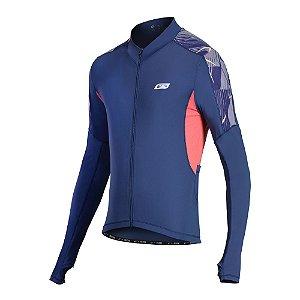 Camisa Ciclismo Masculina Manga Longa Sol Sports Aero Azul Marinho Tam M