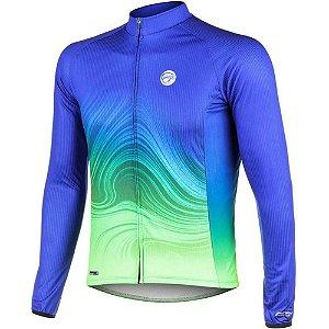 Camisa Ciclismo Bike Mtb Speed  Manga Longa Mauro Ribeiro Streak Azul -P