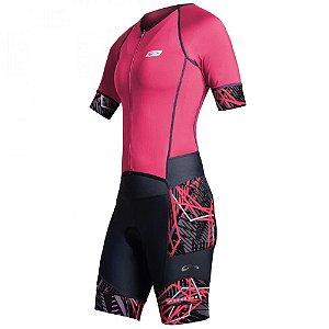 Macaquinho Feminino Ciclismo Sol Spots Matrix Rosa Fluor/Grafit Tam M