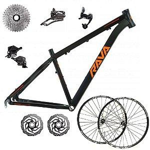 Kit Bicicleta Bike Mtb Pressure 27v Aro 29 17 Preto e Laranja