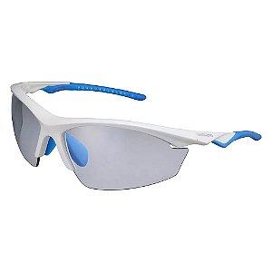 Óculos Ciclismo Shimano Equinox CE-EQX2-PH Branco Metálico com Azul com Três Lentes
