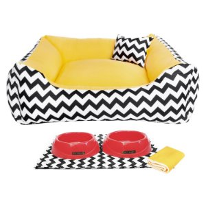 Kit Cama  Pet Comedouros + Cobertor Amarelo D4patas