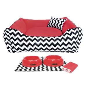 Kit Cama 60x60 Pet Comedouros + Cobertor - Vermelho D4patas