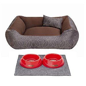 Kit Cama 60x60 Pet Comedouros + Cobertor - Outono D4patas