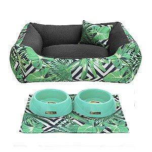 Kit Cama 60x60 Pet Comedouros + Cobertor - Jungle D4patas