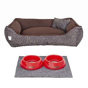 Kit Cama 40x60 Pet Comedouros + Cobertor - Outono D4patas