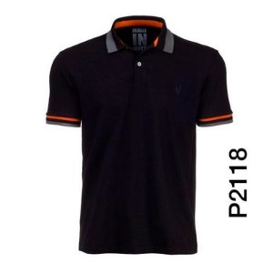 Polo Masculina Preta Filete P2118 - Made In Mato