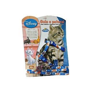 Conjunto Guia e Peitoral Ajustável Gato Estampado Nº 1