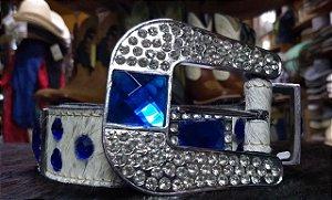 Cinto Couro Adulto c/ Pelo - Pedraria Azul