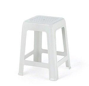 kit 10 banco banqueta plastico branca injeplastec 0952