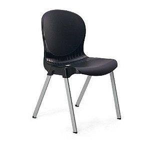 kit 4 cadeiras plastica preta 140kg injeplastec 1149