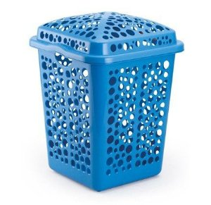 cesto roupas plastico 80 litros azul injeplastec 1155