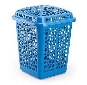 kit 2 cesto roupas plastico 80 litros azul injeplastec 1155
