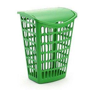 cesto verde telado basculante plastico 40 litros injeplastec 1061