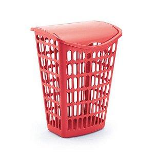 cesto vermelho telado basculante plastico 40 litros injeplastec 0011