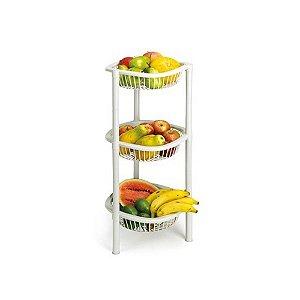 Fruteira Fruta Redonda Plastico Marmore 3 Andar 1008 Injeplastec