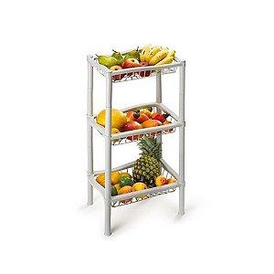 Fruteira Fruta Retangular Plastico Branca 3 Andar 1006 Injeplastec