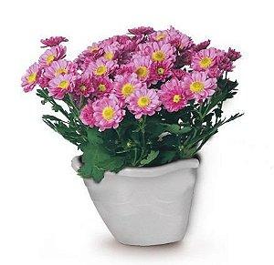 kit 6 vaso plastico flor parede marmore 0969 injeplastec