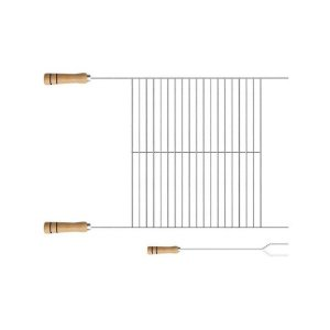 Kit Grelha E Garfo Churrasco Niquelada 78 x 50 x 40 Cm 1214 Stolf