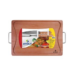 Kit Tabua Carne Churrasco 44 x 30 Cm C/ Garfo E Faca 1188 Stolf