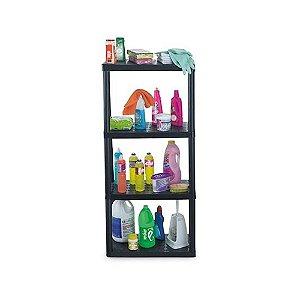 Prateleira Retangular 4 Andar Plastico Preta 60 x 30 x 127 0427 Injeplastec